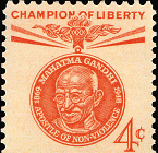 Which country issued this stamp in honour of Mahatma Gandhi?