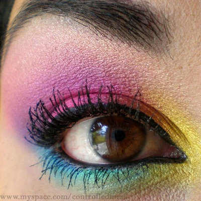 Rainbow eye makeup; Purple eye makeup; Smokey eye makeup