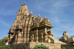 The world famous 'Khajuraho' sculptures are located in