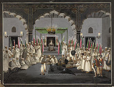 What was the name of the system by which Akbar organized his army as well as the nobility?