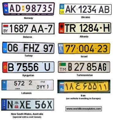 Country License Plates Questions - Usa country abbreviation